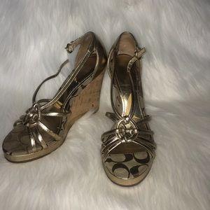 COACH Gold wedge sandals
